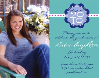 Simple and Fun Custom Photo Graduation Announcement or Invitation