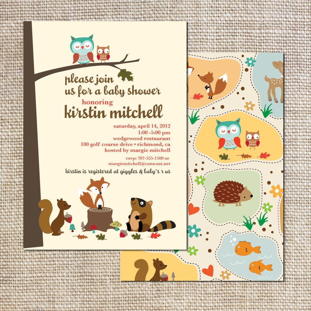 Baby Shower Invitation woodland creatures owls squirrels