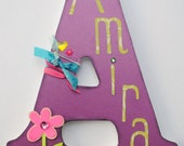 Custom Wooden Wall Letters - Hanging Letters - Nursery Letters - Purple Peace Sign Customized Wooden Name Letter