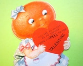 ANTHROPOMORPHIC ORANGE-HEAD GIRL VALENTINE, VINTAGE 1940s