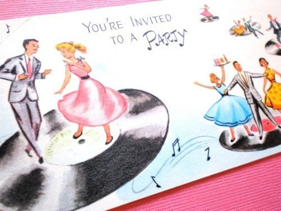 1950s RECORD And DANCE PARTY Invitation Vintage – 1950s Party Invitations