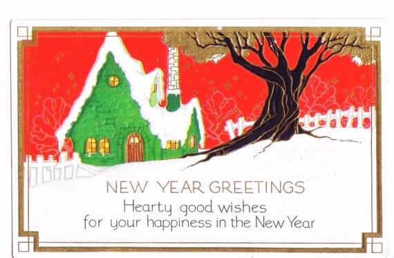 1920s NEW YEAR Postcard - Lots Of Gold Leaf, Embossed - Vintage / Antique