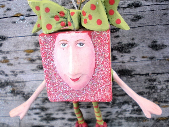 Vintage ORNAMENT - Glittered Red Package With Face And Green Bow - Anthropomorphic