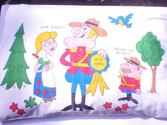 1960s DUDLEY DO-RIGHT Pillowcase - Vintage