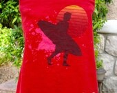 "The UPCycled T Shirt Dress ""Sunset Surfer"" SURFING NO. 4 One Size Fits 2T - 6"