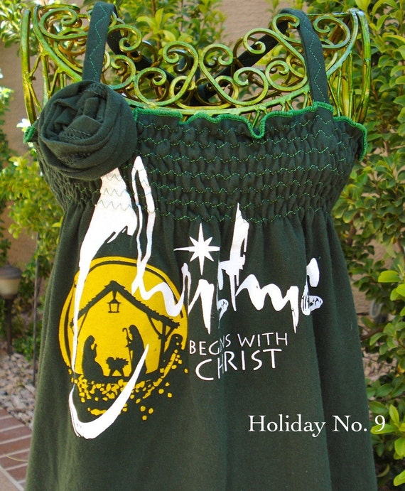 """The UPCycled T Shirt Dress """"Christmas Begins with Christ"""""""