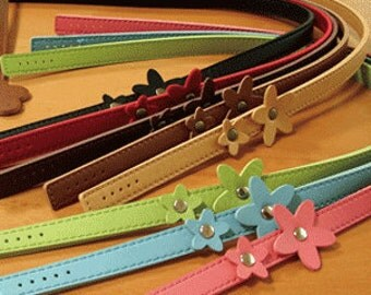 22 inch Leather Like Bag or Purse Handle with Flower on Strap in Assorted Colors