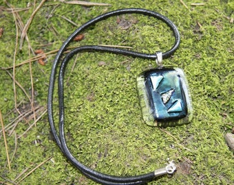 Black Fused Glass Necklace with Blue Dichroic Triangles