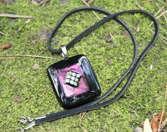 Fused Black Glass Pendant with Iridised and Dichroic Glass