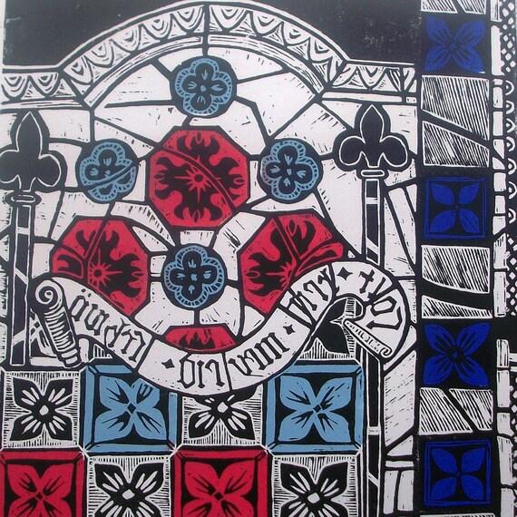 Stained glass window linocut print.