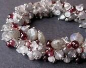 Dangle Charm Bracelet with Moonstone, Labradorite, Garnets, Vintage Crystal with Sterling SIlver Moonstone Clasp