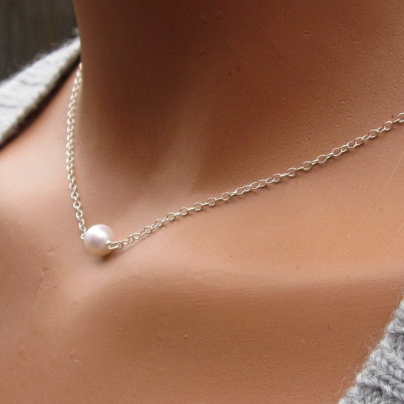 Simple Pearl Choker Necklace with Sterling Silver Chain and Clasp 6mm
