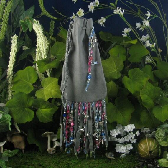 "Grey Suede Tarot Bag Handmade: ""Flower Filled Mist"""