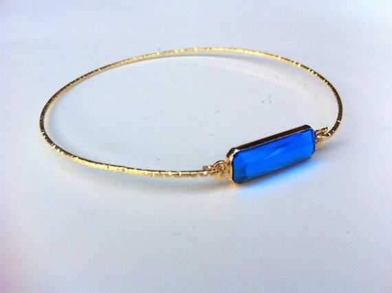 Vintage Set Rectangle Bangle Bracelet in Blue