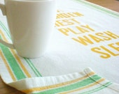 Vintage Inspired Modern Text Tea Towel by indo bay