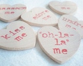 Modern Wooden Conversation Hearts-Handstamped with Naughty and Nice Sentiments-Wedding Party Favors or Gift