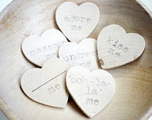 Minamalist Grey & Silver Modern Wooden Conversation Hearts. Handstamped with Naughty and Nice Sentiments-Wedding Party Favors or Gift