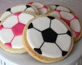 One dozen soccer ball cookie favors