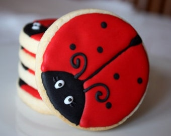 One dozen Ladybug cookie favors
