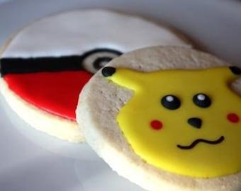 One dozen Pokemon Pokeball cookie favors