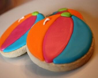 Beach Ball Pool Party Summer Cookies - One dozen