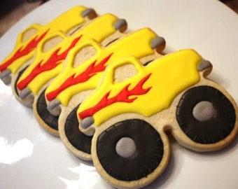 One dozen Monster Truck cookie favors