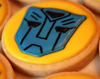 One dozen Transformers cookies