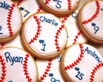 Personalized Baseball Cookie Favors