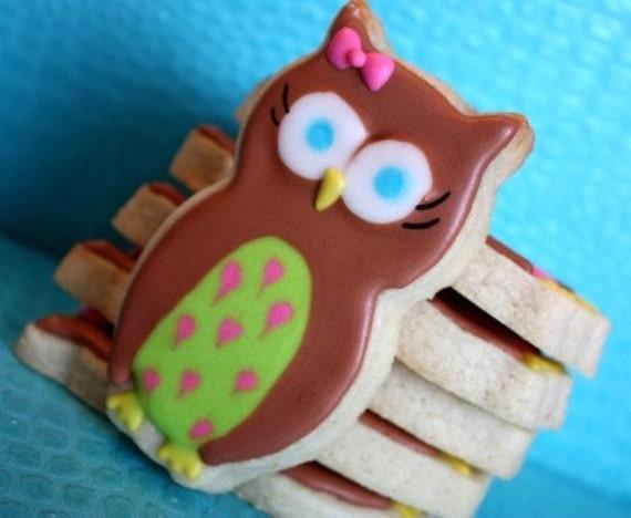 Hoot Hoot Party Owl cookie favors - one dozen