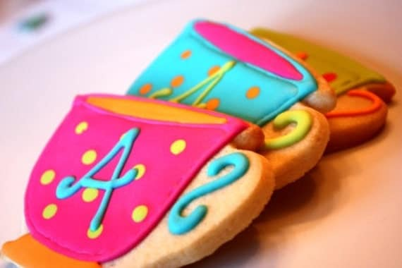 Whimsical Monogram Teacup Cookie Favors - Alice in Wonderland Style