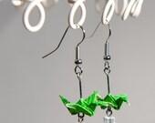 Emerald Green Origami Crane Earrings