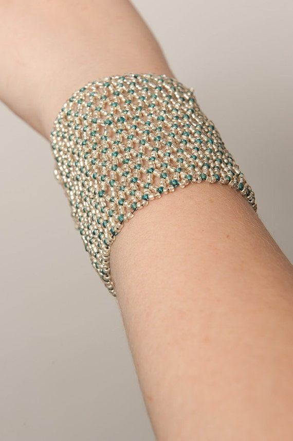 Silver and Blue Netted Cuff Bracelet