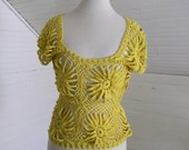 Vintage Boho Chic Crochet Top, 70s Sweater Top Yellow Size Small