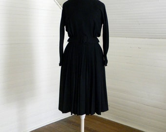 Vintage Dress, 1950s Black Dress With Long Sleeves, Size Small, With Belt by Howard Wolfe, 50s Full Skirt Black Dress With Belt, Black Crepe