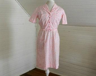 Vintage Dress, Pink Print Cotton Dress Size Small, Spring Dresses, Pink Floral Easter Dress, Handmade Vintage Dress, 1960s Day Dress, Pink