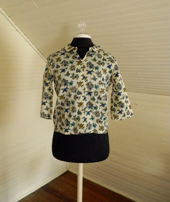Vintage 1960s Blouse Deadstock Christmas in July Sale