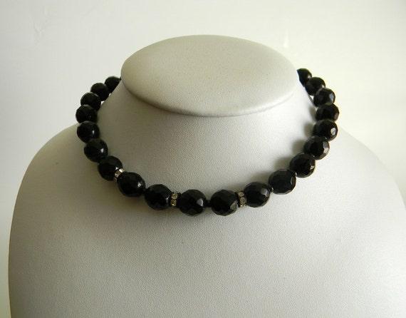 Vintage Necklace, 50s, Black  Glass Beaded Choker Necklace