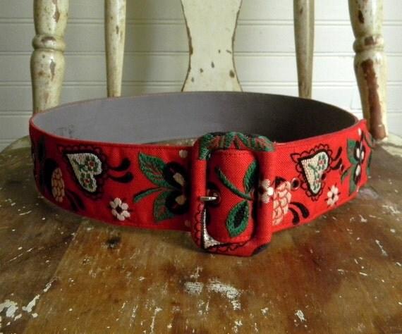 Vintage Belt, Boho Chic Embroidered Red Belt, Ladies Belt