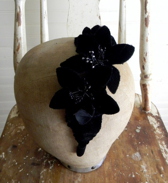 Fascinator Hair Accessory, Black Floral Up-cycled Vinatge Hat