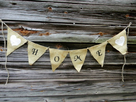 "Burlap Bunting Banner, Flag Bunting ""Home"" Shabby Chic Home Decor FREE Shipping"