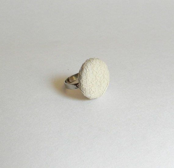 Button Ring, Lace Covered Button Adjustable Ring
