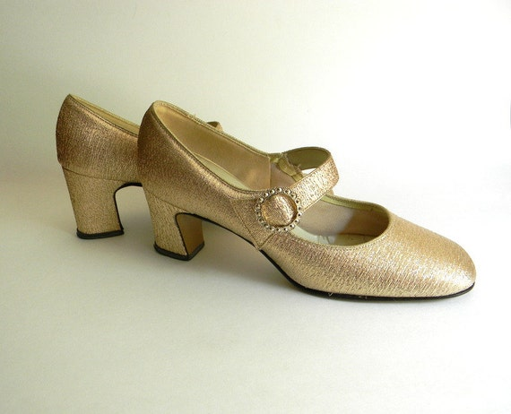 Vintage Shoes, Gold Mary Jane Shoes 1960s