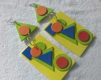 Big Earrings,Foam Earrings, geometric Earrings, 3D Earrings, Yellow Earrings, Funky Earrings