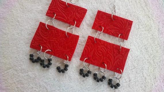 Red and Black Earrings, Unique Red Earrings, Pony Bead Earrings