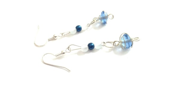 Blue wire wrapped earrings, baby blue earrings, blue earrings, blue dangles, blue beaded earrings, blue long earrings, blue dangle earrings