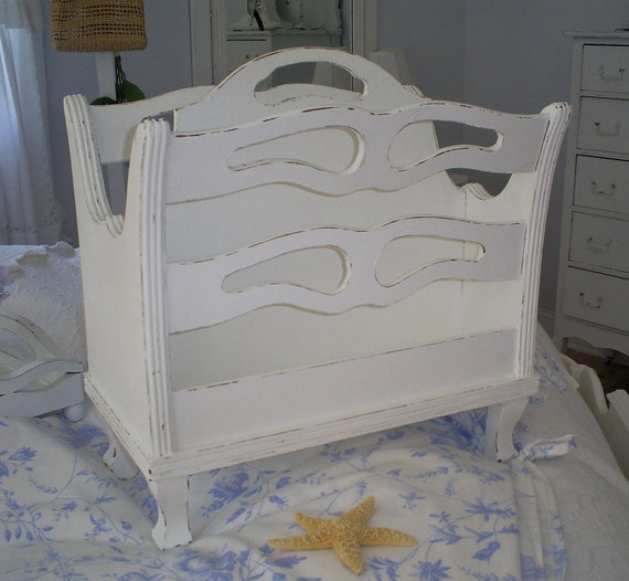 shabby chic magazine holder vintage by backporchco on etsy. Black Bedroom Furniture Sets. Home Design Ideas