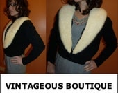 Vintage 1950s BOMBSHELL Glam Black and Snow White Mink Trim Cashmere Sweater S/M