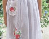 Vintage Half Apron - Red Apples (Long Length)