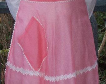 Vintage Half Apron - Dark Pink w/ Daisies