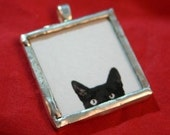 Curious Cat Peeking at YOU Pendant